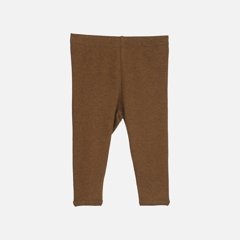 Organic Cotton Baby Rib Leggings - Caramel