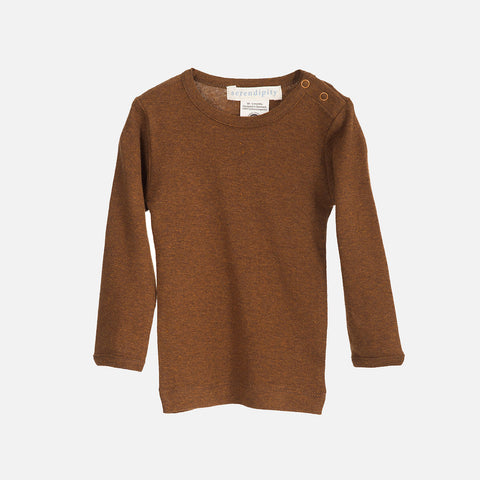 Organic Cotton Baby Rib LS Top - Caramel