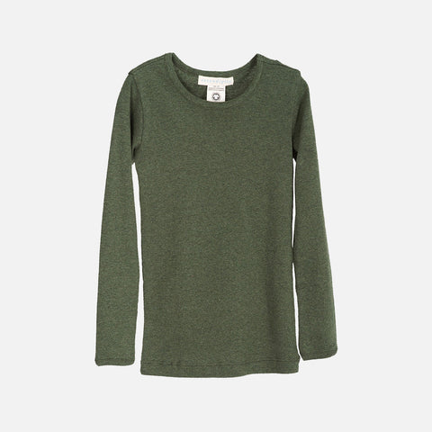 Organic Cotton Slim Rib LS Top - Pine