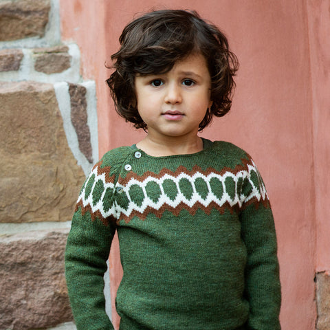 Alpaca Semi Hand Knitted Raglan Sweater - Cedar