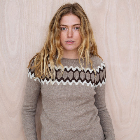 Alpaca Women's Semi Hand Knitted Raglan Sweater - Sand