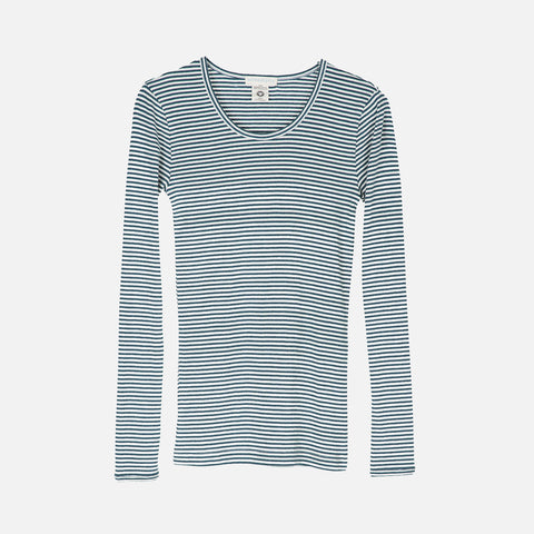 Women's Organic Cotton Slim Rib LS Top - Atlantic/Ecru