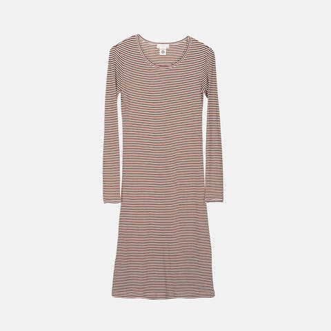Women's Organic Cotton Rib Night Dress - Caramel/Ecru
