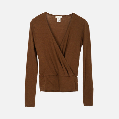Women's Organic Cotton Rib Wrap Blouse - Caramel
