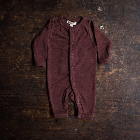 Merino Wool/Silk Pointelle Pyjamas/ Romper - Chestnut