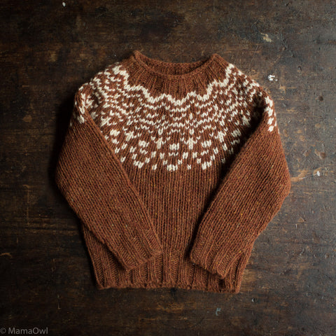 Merino Wool Donegal Isle Sweater - Cinnamon