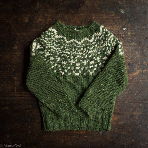 Merino Wool Donegal Isle Sweater - Moss