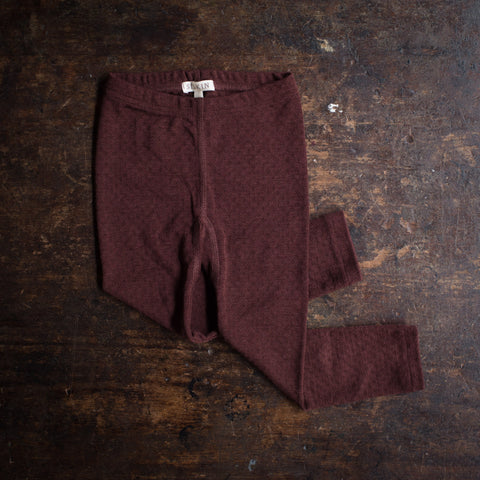 Merino Wool/Silk Pointelle Leggings - Chestnut