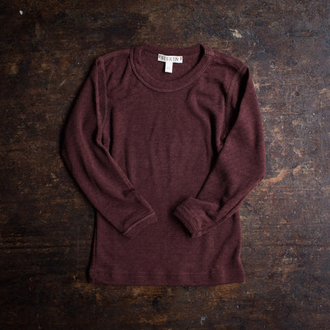Merino Wool/Silk Pointelle Long Sleeve Top - Chestnut