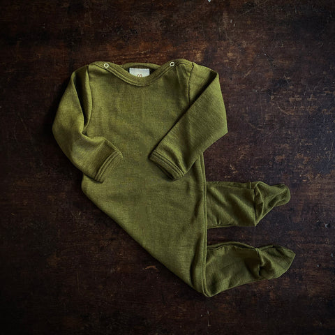 Exclusive Organic Silk & Merino Footed Pyjamas - Moss