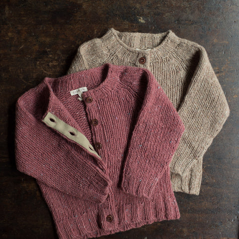 Merino Wool Donegal Coast Cardigan - Raspberry