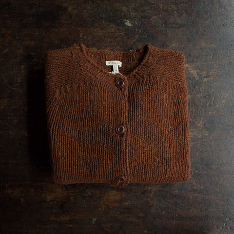 Women's Merino Wool Donegal Coast Cardigan - Cinnamon