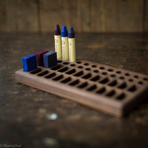 Handmade Walnut Wax Block & Crayon Holder 24/24