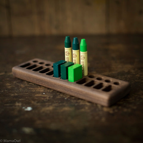Handmade Walnut Wax Block & Crayon Holder 12/12