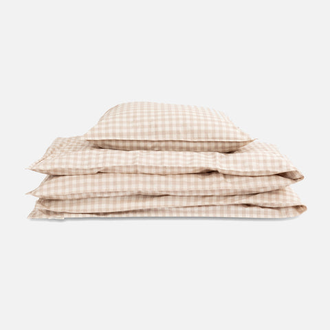 Organic Cotton Duvet & Pillow Cover - Gingham Oat - Single