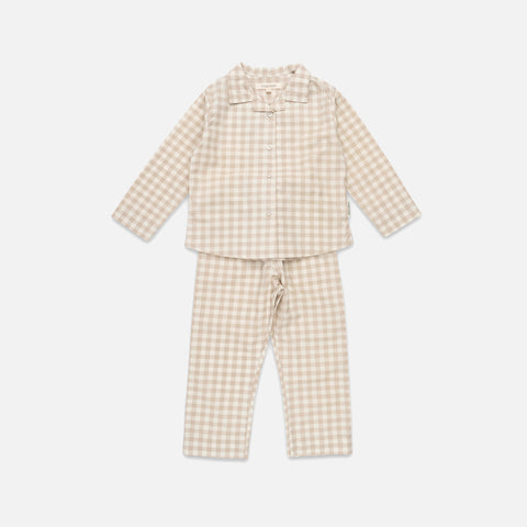 Organic Cotton Pyjamas - Gingham Oat
