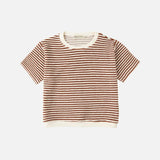 Organic Cotton Terry Tee - Rust Stripes