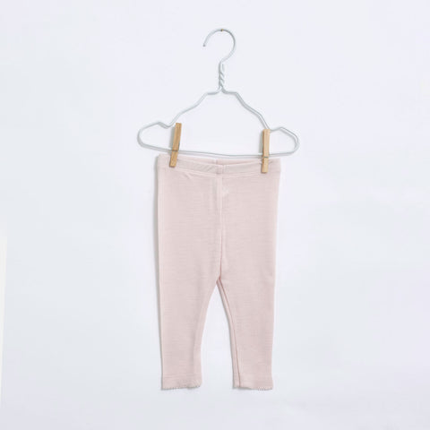 Organic Merino Baby Leggings - Dusty Pink - 0-12m