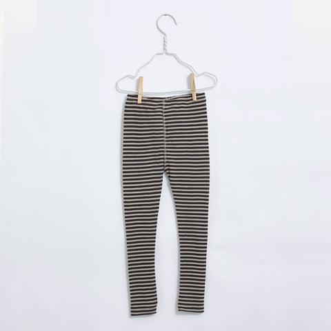 Organic Merino Kids Leggings - Coffee/Ecru