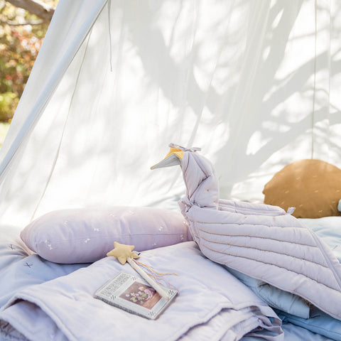 Organic Cotton Play Fold Bird Blanket - Mauve