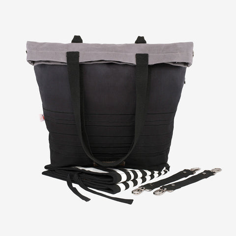 Global Traveller Cotton Changing bag - Dip Dye Black