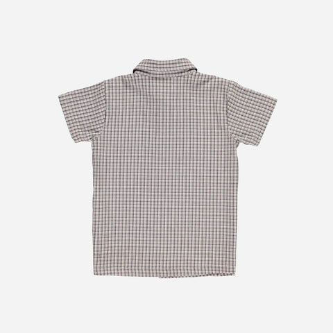 Organic Cotton Alfredo Collar Shirt - Brown Checks - 2-10y