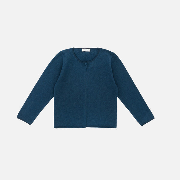 Woollen Minimal Cardigan - Sailor Blue - 3-8y