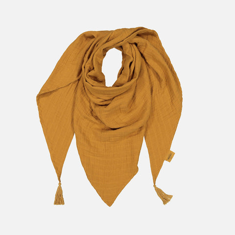 Adult's Cotton Misha Scarf with tassels - Mustard