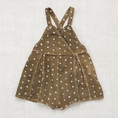 Organic Cotton Backyard Romper - Olive Dot