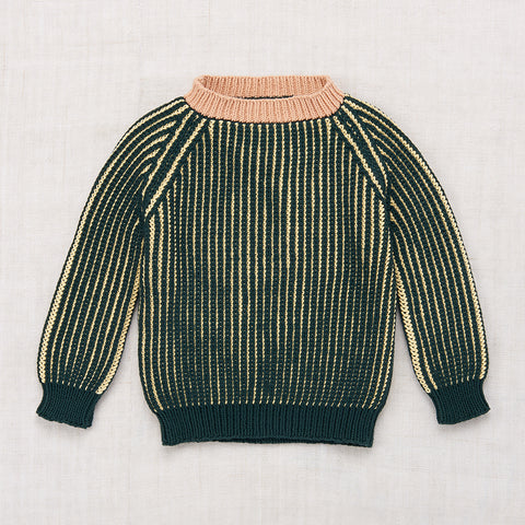 Hand-knit Cotton Crane's Beach Crewneck - Spruce - 7-8y