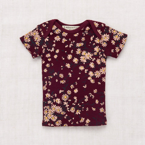 Wild Daisy Short Sleeve Slim Tee - Burgundy - 0-12m
