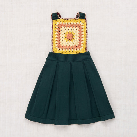 Hand-knit and Crochet Eva Apron Dress - Spruce - 2-5y