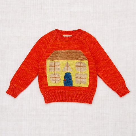Hand Knit Merino Wool House Sweater - Hot Red