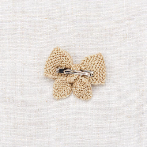 Hand Knit Merino Wool Puff Bow - Alabaster