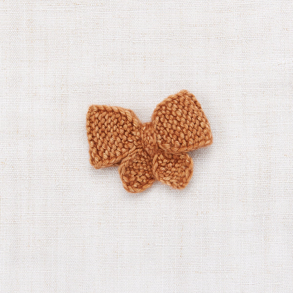 Hand Knit Merino Wool Puff Bow - Rose Gold