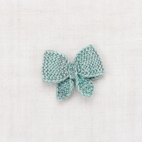 Hand Knit Merino Wool Puff Bow - Sage
