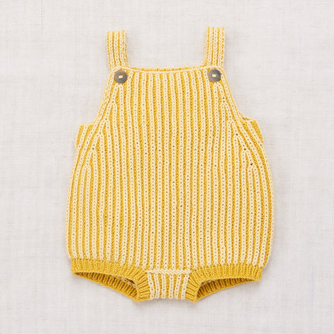 Hand-knit Cotton Plum Island Playsuit - Sunshine - 6m-3y