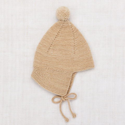Hand Knit Merino Wool Pointy Peak Hat - Alabaster