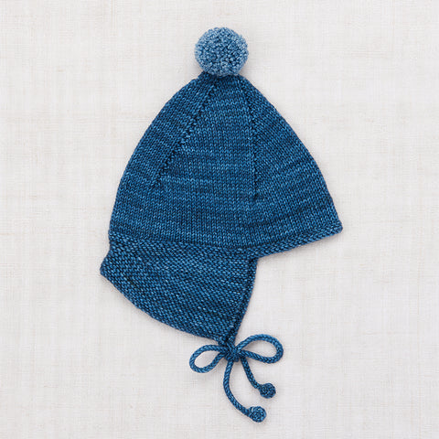 Hand Knit Merino Wool Pointy Peak Hat - Blue Smoke