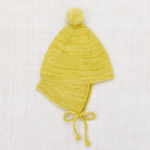 Hand Knit Merino Wool Pointy Peak Hat - Dijon