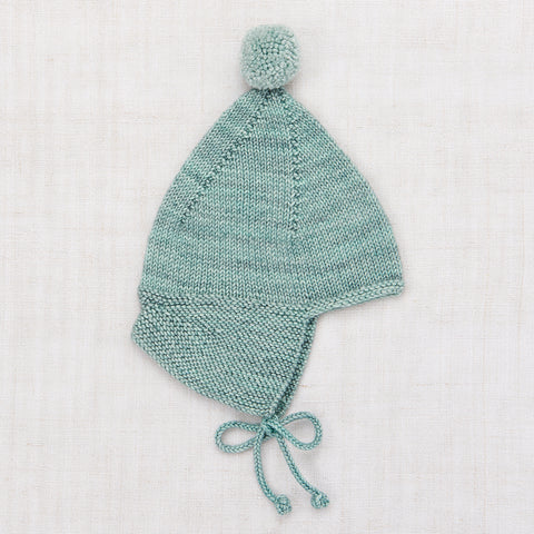 Hand Knit Merino Wool Pointy Peak Hat - Sage