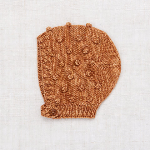 Hand Knit Merino Wool Popcorn Bonnet - Rose Gold