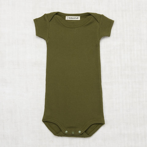 Organic Cotton Ribbed Onesie - Moss - 0m-24m