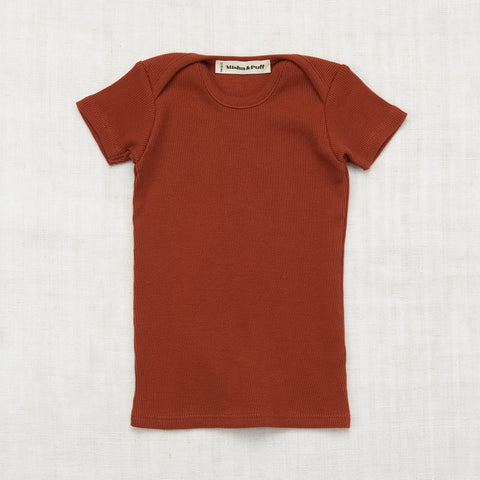 Organic Cotton Rib Slim Tee - Rust - 2-8y