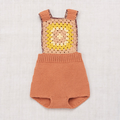 Hand-knit and Crochet Sand Castle Sunsuit - Clay - 6m-3y