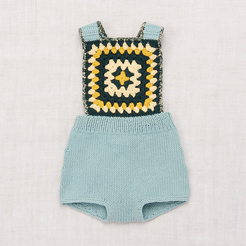 Hand-knit and Crochet Sand Castle Sunsuit - Faded Indigo - 0-3y