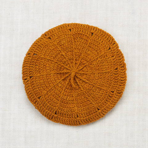 Hand Crocheted Cotton Sand Dollar Beret - Marigold - 2-8y