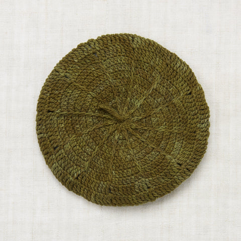 Hand Crocheted Cotton Sand Dollar Beret - Moss - 2-8y