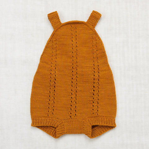 Hand Knit Cotton Sea Urchin Sunsuit - Marigold - 0-5y
