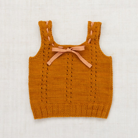 Hand Knit Cotton Sea Urchin Tank Top - Marigold - 2-8y
